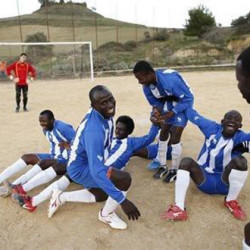 African asylum seekers in Sicily dream of football glory