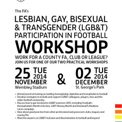 English FA to host workshops on homophobia and LGBT participation in football