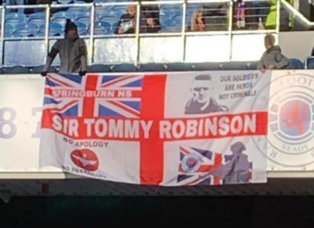 Banner celebrating far-right leader highlights rising levels of discrimination in Scottish football
